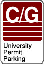 Commuter / Graduate University Permit Parking sign